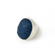 Python Oval silver ring Blue