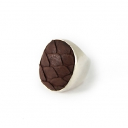 Python Oval Silver Ring chocolate