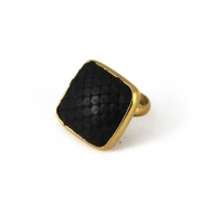 Python Square Brass Ring Black