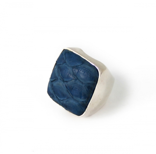 Python Square Silver Ring Blue