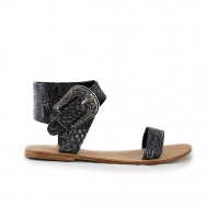 Thierry Sandal Flat Croco Washed Black
