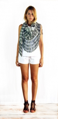 Drifter Scarf Tie-Dye Leather Grey