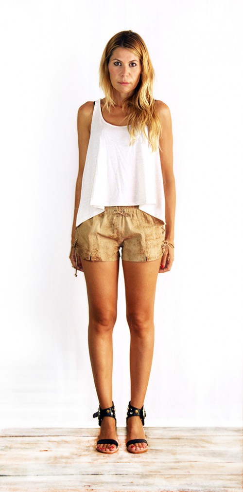 Erin Laced Shorts Washed Brown