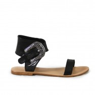 Thierry Sandal Flat Reedition Black
