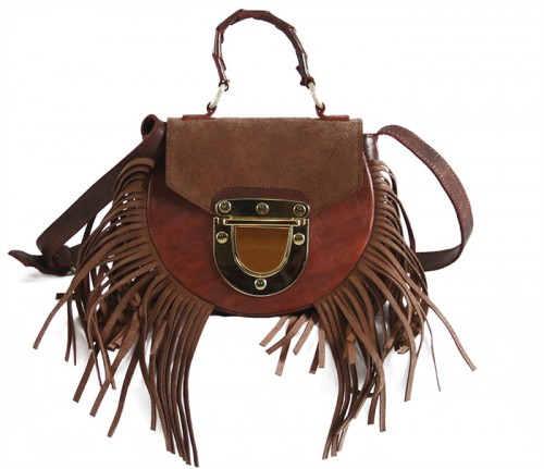 Adele Fringe Mini Vintage Brown