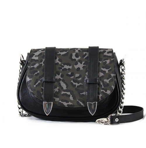 Tasha Leo Mini Leo Leather Black-khaki