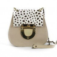 Martine Calf Flap Stone-White Spots