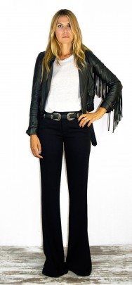 Thelma Fringed Biker Black