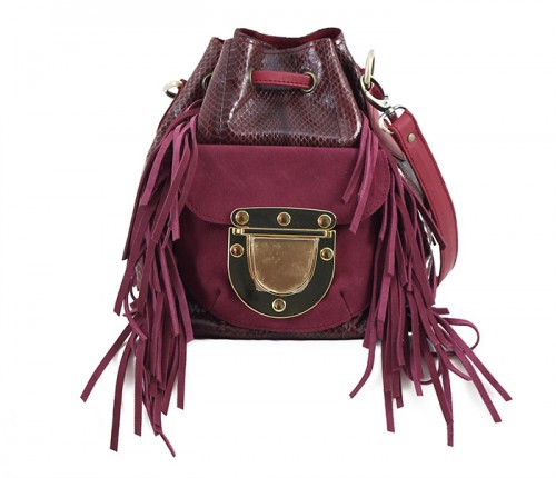 West Village Fringe Snake Mini Burgundy