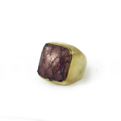 Python Solid Square Ring Metallic Violet